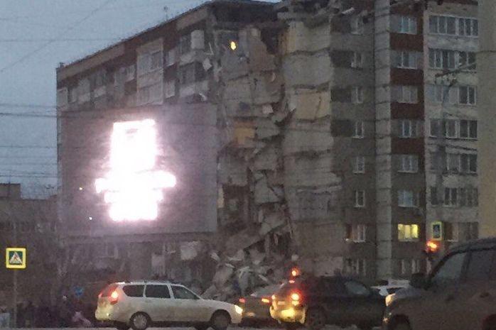 ВИжевске обвалился  девятиэтажный дом, есть жертвы